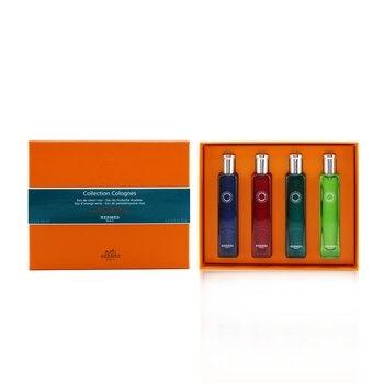 Hermes Colognes Collection Travel Set: Eau D'Orange Verte, Eau De Rhubarbe Ecarlate, Eau De Pamplemousse Rose, Eau De Citron Noir