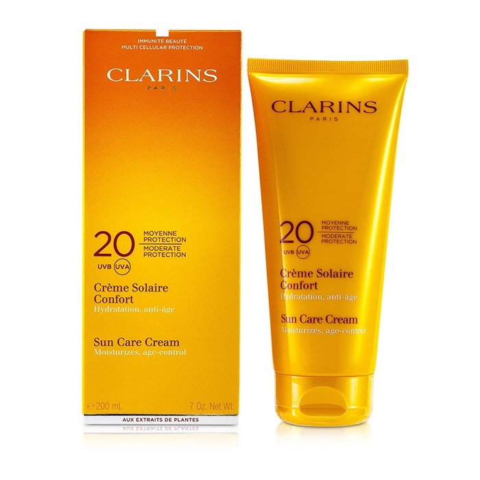 clarins sun care cream moderate protection 20 uvb uva the beauty club shop skincare. Black Bedroom Furniture Sets. Home Design Ideas