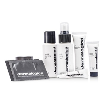 Dermalogica Normal/ Dry Skin Kit: Cleanser + Toner +  Smoothing Crm + Exfoliant + Eye Reapir + 2x Sample