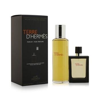 Hermes Terre D'Hermes Pure Parfum Refillable Spray 30ml/1oz + Refill 125ml/4.2oz