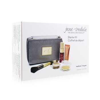 Jane Iredale Starter Kit (6 Pieces): 1xPrimer & Brighter, 1xLoose Mineral Powder, 1xMineral Foundation - # Medium