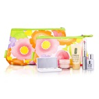 Clinique Travel Set: DDML+ + Moisture Surge + Laser Focus + Eye Shadow Quad #05, 2A, 07 Duo + Mascara & Lipstick #62 + 2xBag