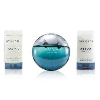 Bvlgari Aqva Pour Homme Coffret: EDT Spray 100ml/3.4oz + Shampoo & Shower Gel 75ml/2.5oz + After Shave Emulsion 75ml/2.5oz