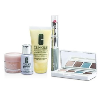 Clinique Travel Set: DDML+ + Moisture Surge + Laser Focus + Eye Shadow Quad #03, 20, 23, 38 + Mascara & Lipstick #43 + 2xBag