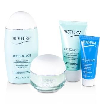 Biotherm Aqua Trio Set: Aquasource Gel 50ml + Toning Lotion 125ml + Hydrating Jelly 20ml + Biosource Cleansing Gel 50ml