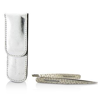 Tweezerman Professional Petite Tweeze Set: Slant Tweezer + Point Tweezer - (Regency Finish w/ Silver Leather Case)
