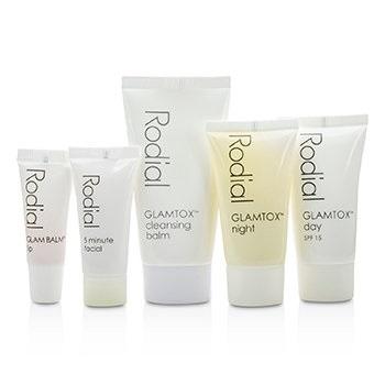 Rodial Glamtox Kit: Cleansing Balm 30ml + Glamtox Day SPF15 15ml + Glamtox Night 15ml + 5 Minute Facial 10ml + Glam Balm Lip 2.5ml