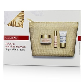 Clarins Super Skin Firmers Set: Extra-Firming Day Cream 50ml + Botanical Serum 10ml + Night Cream 15ml + Bag