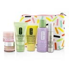 Clinique Travel Set: Sonic Facial Soap + Clarifying Lotion 2 + DDML + Smart Serum + Moisture Surge Intense + All About Eyes + Bag