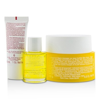 Clarins Set: Toning Body Polisher 250g/8.8oz + Body Treatment Oil - Tonic 30ml/1oz + Extra Firming Body Lotion 30ml/1oz + Bag