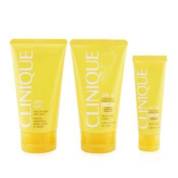 Clinique Summer In Clinique Coffret: Face Cream SPF 40 50ml+ Face/Body Cream SPF 15 150ml + After Sun Rescue Balm With Aloe 150ml