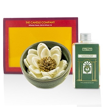 The Candle Company Christmas Tree Diffuser Flower Coffret: Diffusing Flower + Dish + Diffuser Oil 100ml