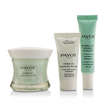 Payot Hydra 24+ Coffret: 1x Plumpling Moisturizing Care 50ml, 1x Moisturing Reviving Eyes Roll On 15ml, 1x Comforting Mask 15ml, 1x Bag