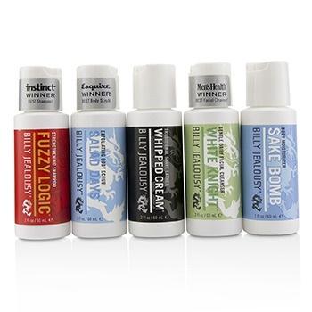 Billy Jealousy Value Travel Kit: Facial Cleanser 60ml + Shave Lather 60ml + Shampoo 60ml + Body Scrub 60ml + Body Moisturizer 60ml