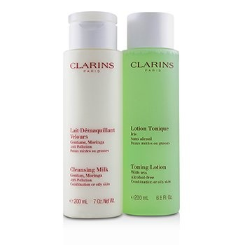 Clarins Cleansing Duo (Combination or Oily Skin): Anti-Pollution Cleansing Milk 200ml/7oz + Toning Lotion with Iris 200ml/6.8oz