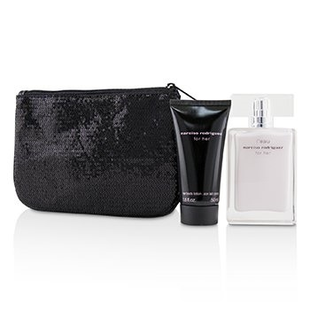 Narciso Rodriguez L'Eau For Her Coffret: EDT Spray 50ml/1.6oz + Her Body Lotion 50ml/1.6oz + Pouch