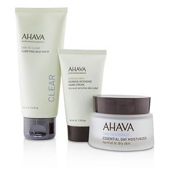 Ahava Elements Of Love Natural Love Essentials: Essential Day Moisturizer + Purifying Mud Mask + Dermud Intensive Hand Cream + Bag