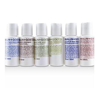 MALIN+GOETZ 1oz. Essentials Kit: Graprfuit Cleanser+Face Moisturizer+Body Wash+Body Moisturizer+Shampoo+Conditioner