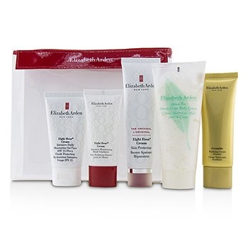 Elizabeth Arden Daily Beauty Essentials Set: Purifying Cream Cleanser+ Eight Hour Cream+ Eight Hour Cream SPF 15+ Ei