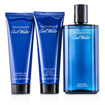 Davidoff Coolwater Coffret: EDT Spray 125ml/4.2oz + After Shave Balm 75ml/2.5oz + Shower Gel 75ml/2.5oz + Navy Toilet Bag