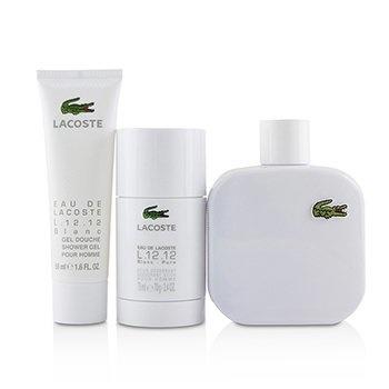 Lacoste Eau De Lacoste L.12.12 Blanc Coffret: EDT Spray 100ml/3.3oz + Deodorant Stick 75ml/2.4oz + Shower Gel 50ml/1.6oz