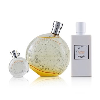 Hermes Eau Des Merveilles Coffret: EDT Spray 100ml/3.3oz + Moisturizing Body Lotion 80ml/2.7oz + EDT 7.5ml/0.25oz