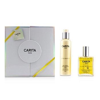 Carita Fluide De Beaute 14 Set : Ultra-Nourishing Dry Oil 100ml/3.3oz + Ultra-Hydrating Comforting Body Milk 200ml/6.7oz