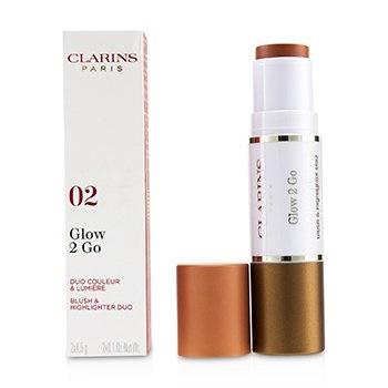 Clarins Glow 2 Go Blush & Highlighter Duo - # 02 Golden Peach