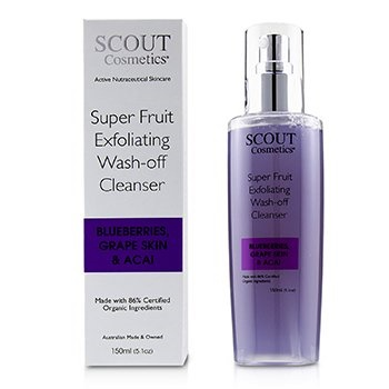 SCOUT Cosmetics Super Fruit Exfoliating Wash-Off Cleanser with Blueberries, Grape Skin & Acai