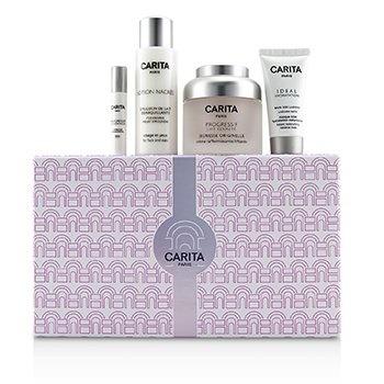Carita Paris Back In Time Anti-Age Coffret: Firming Cream 50ml + Cleansing Milky Emulsion 50ml + Radiance Mask 15ml + Replumping Serum 2ml