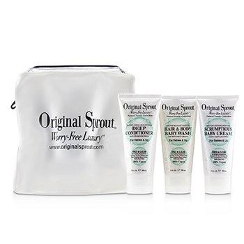 Original Sprout Travel Trio Set: 1x Deep Conditioner 90ml+1x Hair and Body Babywash 90ml +1x Scrumptious Baby Cream 90ml (For Babies & Up)