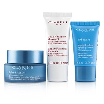 Clarins Hydra-Essentiel Skin Starter Kit: Silky Cream 50ml+ SOS Hydra Hydration Mask 15ml+ Gentle Foaming Cleanser 30ml