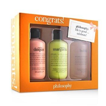 Philosophy Congrats! 3-Piece Shower Gel Set: 1x Senorita Mrgarita 180ml + Melon Daiquiri 180ml + Bubby