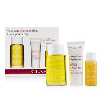 Clarins Home Pampering Set: Tonic Body Treatment Oil 100ml+ Exfoliating Body Scrub 30ml+ Tonic Bath & Shower Concentrate 30ml