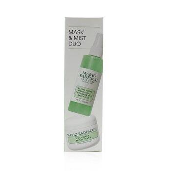 Mario Badescu Cucumber Mask & Mist Duo Set: Facial Spray With Aloe, Cucumber And Green Tea 4oz + Cucumber Tonic Mask 2oz