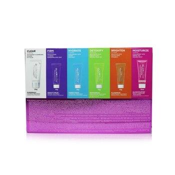 Glamglow Glow Essentials: Mask + Moisture Set: Supermud + GravityMud + Thirstymud + PowerMud + FlashMud + Glowstarter Nude Glow