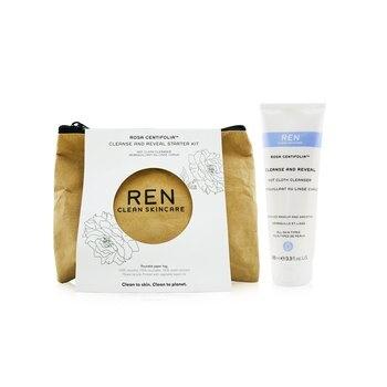 Ren Rosa Centifolia Cleanse & Reveal Starter Kit: Hot Cloth Cleanser 100ml + 100% Unbleached Cotton Cloths 2pcs