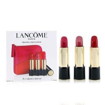Lancome 3 L'Absolu Rouge Hydrating Shaping Lipcolor Trio Set (3x Lipcolor + Pouch)