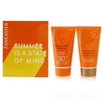 Lancaster Summer Is A State of Mind Set: 1x Sun Beauty Sublime Tan Velvet Milk SPF 30 - 50ml/1.7oz + 1x Golden Tan Maximizer After Sun Lotion - 50ml/1.7oz