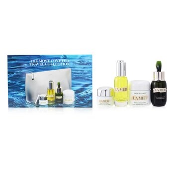 La Mer The Most-Covered Travel Collection: 1x The Concentrate - 30ml/1oz + 1x The Eye Balm Intense - 15ml/0.5oz + 1x The Renewal Oil - 30ml/1oz + 1x Cream De La Mer The Moisturizing Cream - 60ml/2oz + 1x Bag