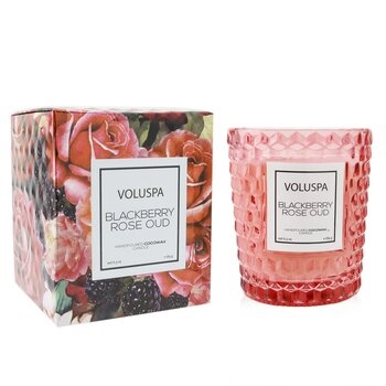 Voluspa Textured Glass Candle - Blackberry Rose Oud