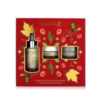 Caudalie The Cult (Vinoperfect) Anti-Dark Spot Routine Set: Radiance Serum 30ml+Correcting Moisturizer 15ml+Glycolic Night Cream 15ml