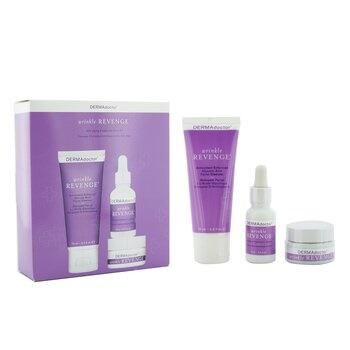 DERMAdoctor Wrinkle Revenge Anti-Aging Essentials Intro Kit: Eye Balm 15ml+ Ultimate Hyaluronic Serum 15ml+ Facial Cleanser 70ml