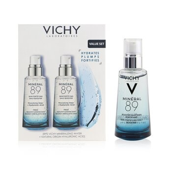 Vichy Mineral 89 Fortifying & Plumping Daily Booster (89% Mineralizing Water + Hyaluronic Acid) Duo Pack