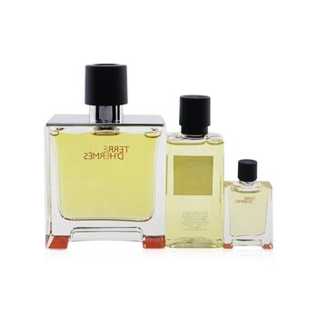 Hermes Terre D'Hermes Coffret: Pure Parfum Spray 75ml/2.53oz + Hair & Body Shower Gel 40ml/1.35oz + Pure Parfum Spray 5ml/0.17oz